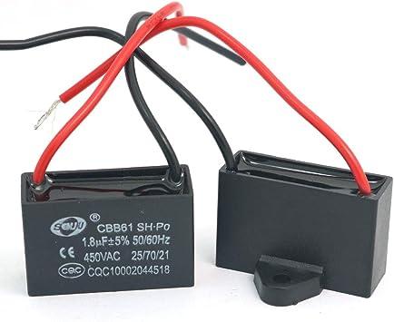DollaTek 2Pcs CBB61 1.8uF 450V AC 50/60Hz Condensador ...