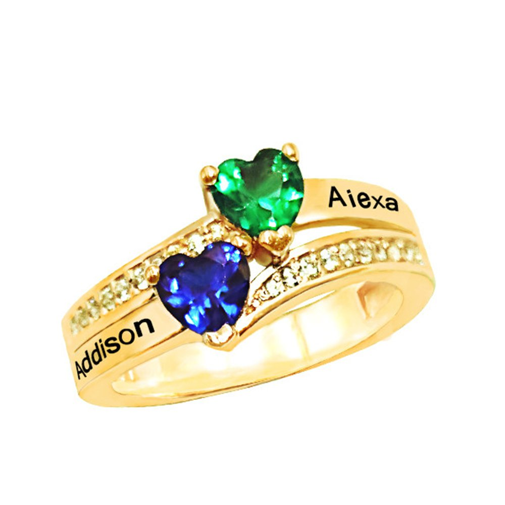 KIKISHOPQ Engagement ring Add your name and inlaid two gems to give your lover the best gift(gold 13.5)
