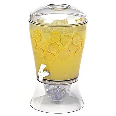 Estilo Beverage Dispenser on Base with Ice Core and Flavor Infuser, Clear, 2 gallon - EST0313