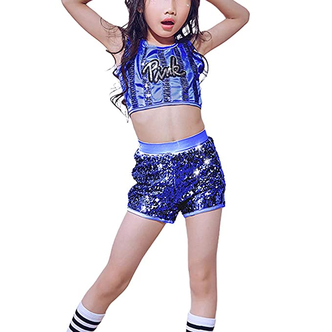 7fa5055ae Amazon.com  LOLANTA Kids Sequin Jazz Tap Dancewear Outfit Crop Tops ...