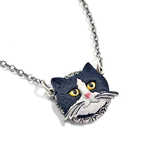 Amazon.com: Blanco y Negro Tuxedo Cat Collar con Colgante ...
