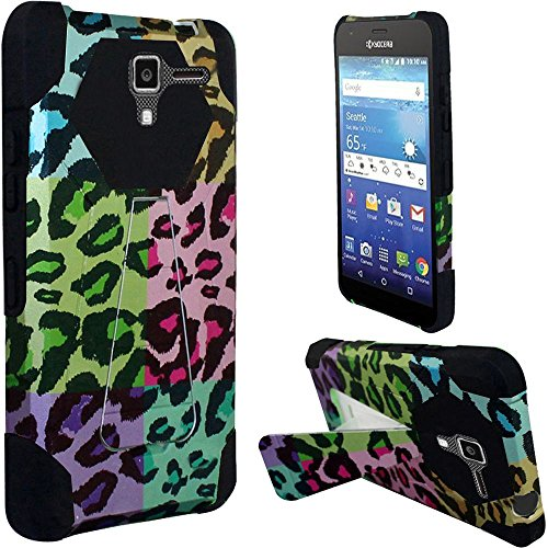 Kyocera Hydro View C6742 (Cricket), Luckiefind® Designer Premium Hybrid Dual Layer Case with Stand & Stylus Pen Accessory (Stand Colorful Leopard)