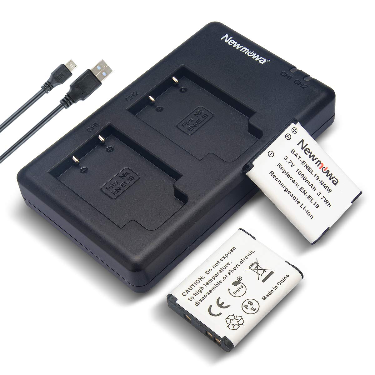 ANTOP Antenna Newmowa EN-EL19 Battery(2-Pack) and Dual USB Charger kit for Nikon Coolpix S32, S33,S100, S2800, S3100, S3200, S3300, S3500, S3600, S3700, S4100, S4200, S4300, S5200, S5300 by ANTOP Antenna
