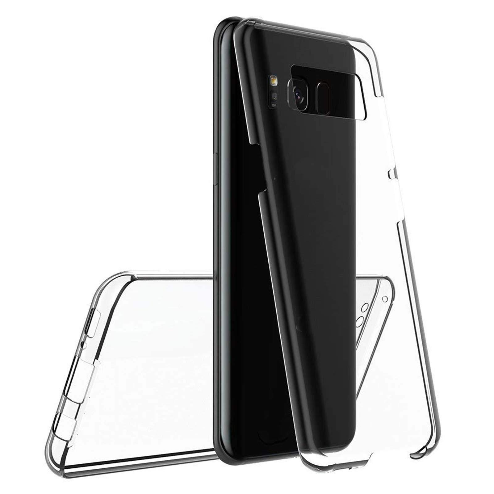 LINCIVIUS  Coque Integrale Compatible avec Samsung Galaxy S8, Coque de Protection 2 en 1 Bumper Transparent Silicone Avant Et Arrière Contour Bumper pour Samsung Galaxy S8, Transparent