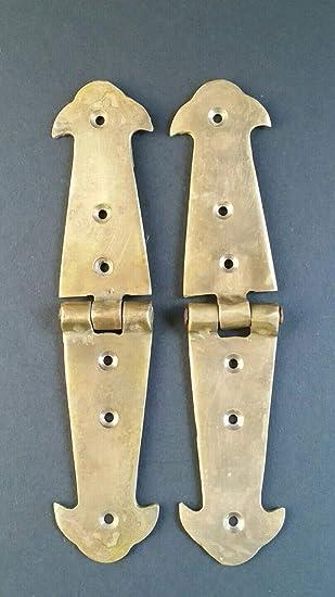 "Pair Brass Rustic Hinges Antique Vintage Style Door Trunk Box Lid 5 3//4/"" #X1"