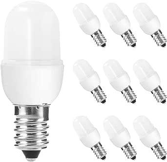 Pack de 10 bombillas LED E14 de 1 W, luz blanca cálida, 1 W de luz nocturna (equivale a 5 W), no regulable, mate, bombilla LED de bajo consumo, nevera, para decoración