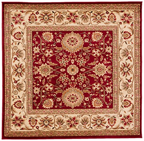 Safavieh Lyndhurst Collection LNH212F Traditional Oriental Red and Ivory Square Area Rug (6' Square)