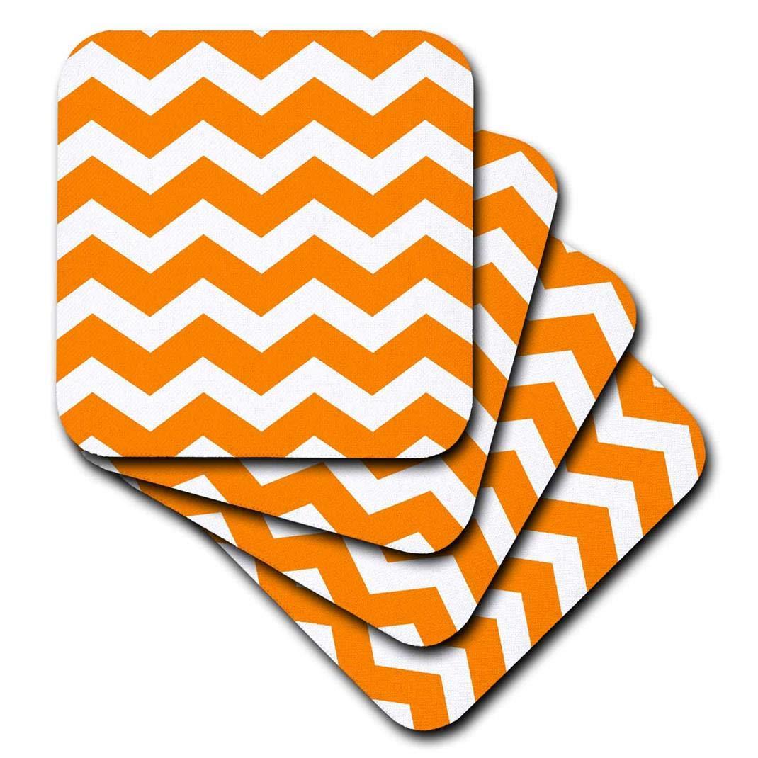 Set of 4 3dRose CST/_179678/_3 Bold Orange /& White Zig Zag Chevron Pattern Bright Zigzags Ceramic Tile Coaster