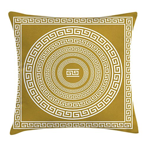 Queolszi Greek Key Throw Pillow Cushion Cover, Frieze with Vintage Ornament Meander Pattern from Greece Retro Twist Lines, Decorative Square Accent Pillow Case, 22 X 22 Inches, Pale Amber White]()