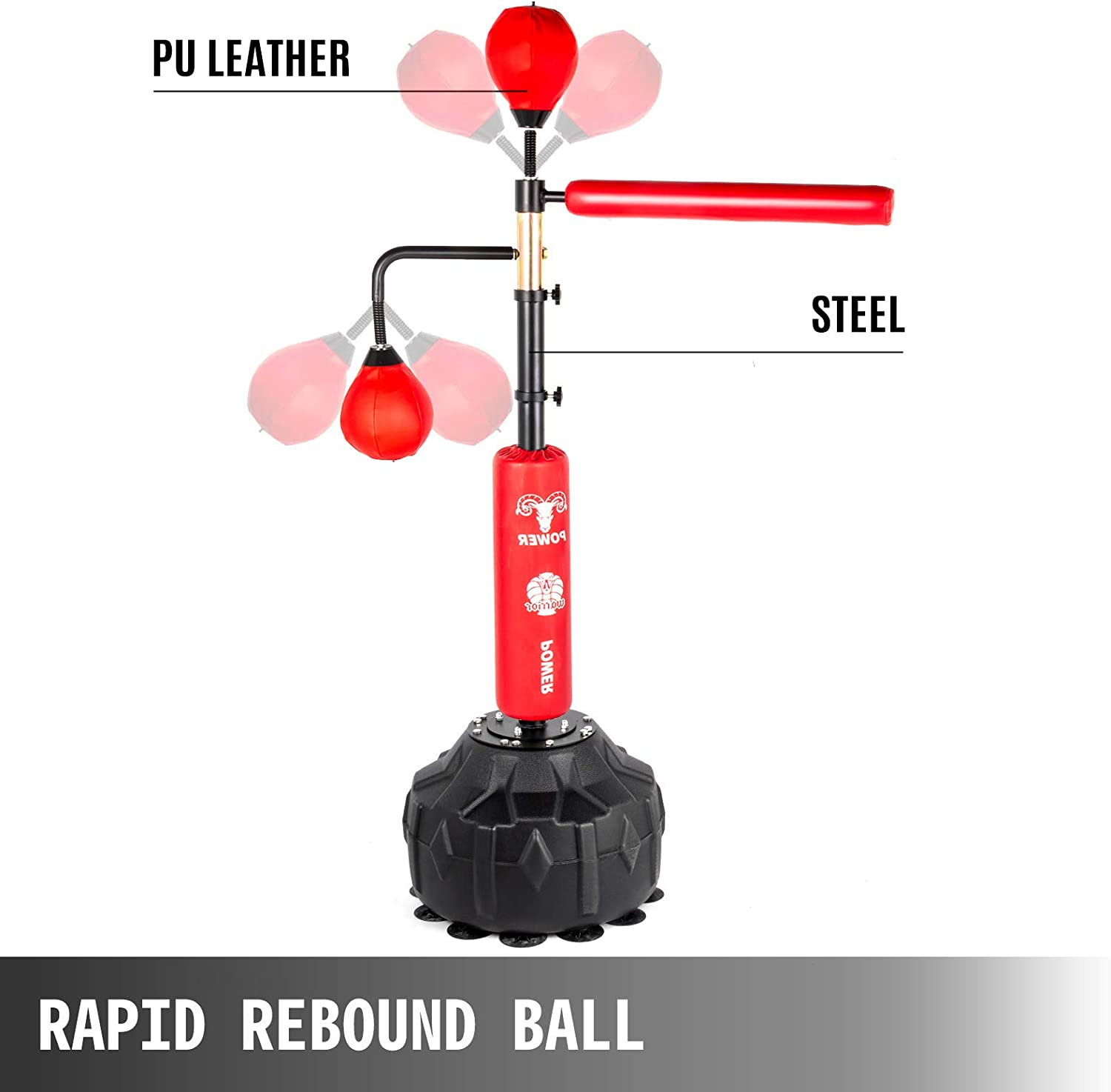 Punching Bag Spinning Bar Adjustable Height Red with Two Ball Training Boxing Ball with Reflex Bar /& Gloves Solid Speed Punching Bag Free Standing for Adult/&Kid Happybuy Boxing Speed Trainer