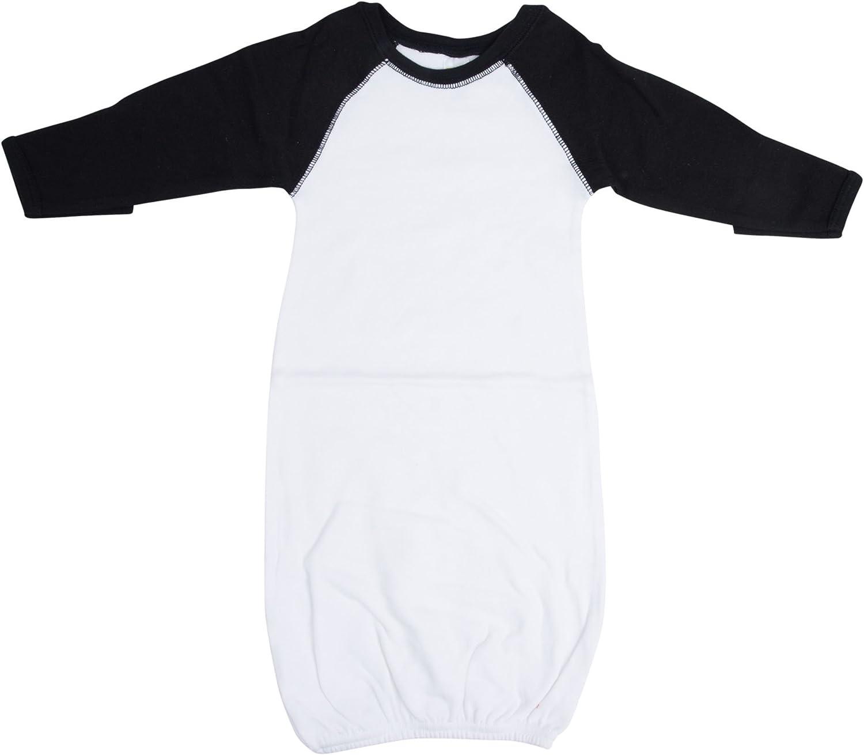 Laughing Giraffe Raglan Baseball Baby Gown with Foldover Mittens (White/Black),0 - 6 Months