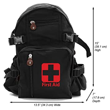 a557a617973b43 Amazon.com | First Aid Army Sport Heavyweight Cotton Canvas Backpack Bag  Black & Red, Small | Casual Daypacks