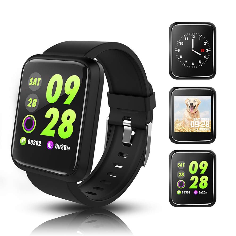 Fitness tracker waterproof,activity tracker with heart rate blood pressure monitor Pedometer trackers with step calorie counter Compatible iPhone Android iOS for Men Women Kids