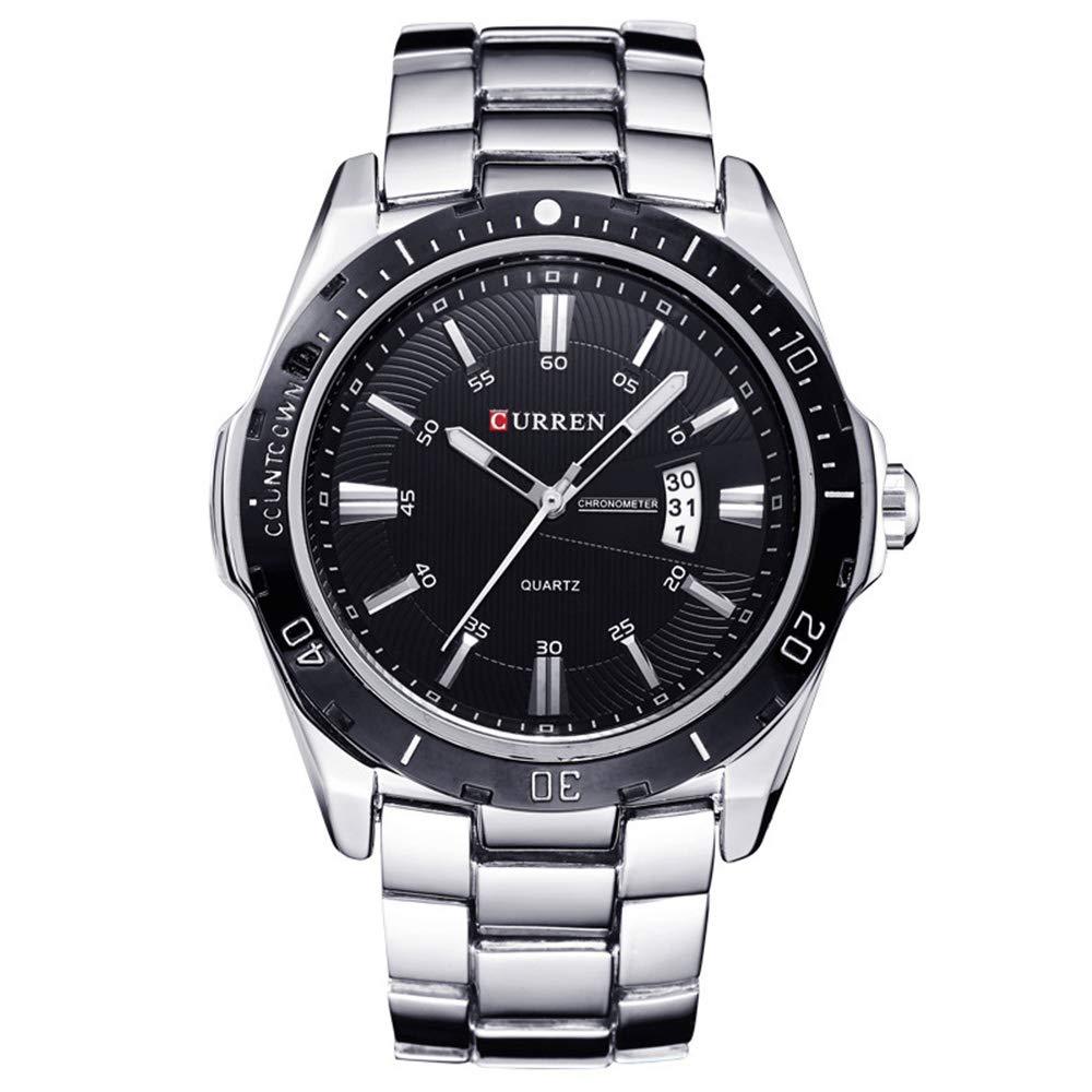Curren nueva moda hombres del cuarzo Deportes Analog reloj de pulsera 8110G (plata + negro)