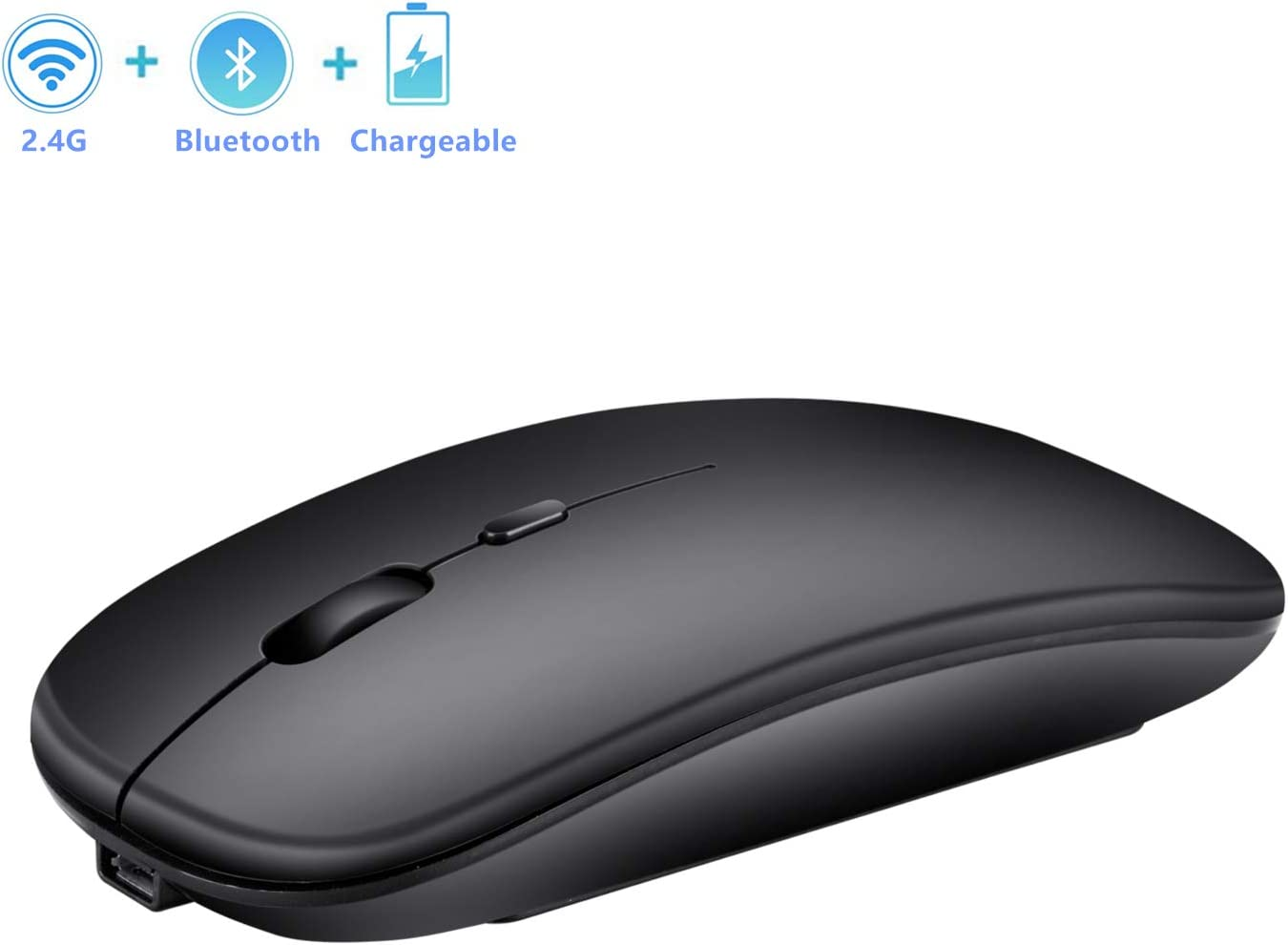 Bluetooth & 2.4G Slim Wireless Mouse, 3 Adjustable DPI,Less Noise, Portable Dual Mode Rechargeable Wireless Mouse for PC,Computer,Laptop, MacBook (Matte Black)