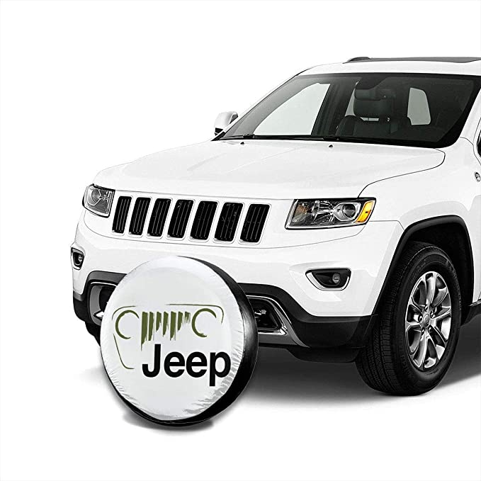 Spare Wheel Covers WBinHua Couvre-Roue de Secours Jeep-Wrangler Logo 4X4 Spare Wheel Tire Cover Vinyl Cover with Elastic Hem-Durable Design Keeps Dirt