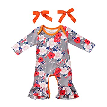 04370cd3039a Baby Romper Shirts for 0-24Months Girls Iuhan Floral Toddler Playwear Romper  Jumpsuit+Headbands Set Outfit (24Months