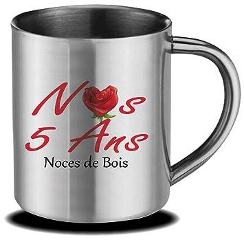 Stylx Design Mug Anniversaire De Mariage 5 Ans Noces De Bois