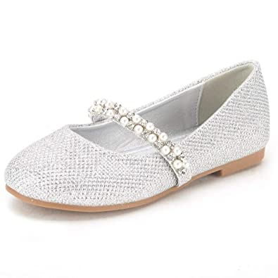ab5a08f4a DREAM PAIRS Toddler Serena-100-Silver Glitter Girl's Mary Jane Ballerina  Flat Shoes -