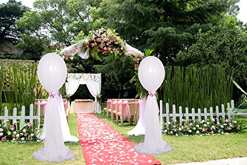 2 Pack 18 inch Party Balloons Large White Balloons Long Tulle Clear Balloons with Arch Kit for Wedding, Baby -