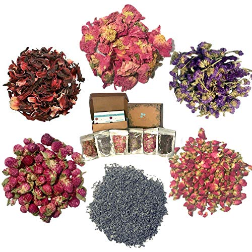 Dried Flower for Soap Making - Artisan Floral and Herbs Set incl. Wild Rose Petal and Lavender - Candle Making Kit - Bath Bomb Making Kit - Pressed Flowers for Resin -with BONUS (Herbs Flowers Dried)