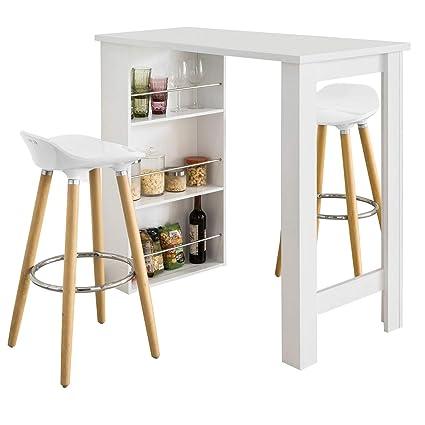 Tavolo Alto Bar Bianco.Sobuy Tavolo Alto Da Bar In Bianco Bancone Bar Da Casa Fwt17 W