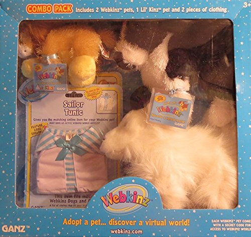 Webkinz Combo Pack 2 Webkinz Mocha Pup Fox 1 Lil' Kinz Blue Hippo 2 Outfits