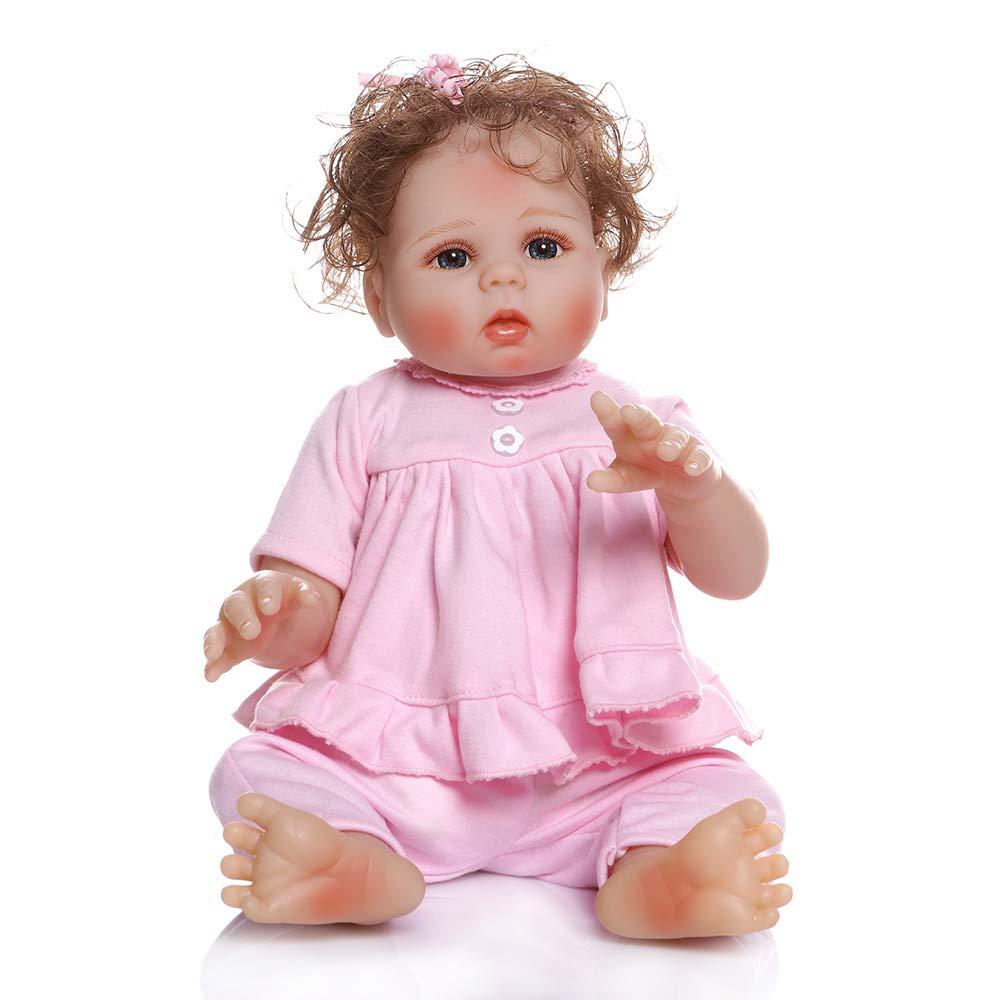Decdeal 19 Pulgadas Mu/ñecas de Juguete para Ni/ñas Mu/ñecas de Ba/ño Realistas y Lindas Hechos de Vinilo de Silicona Regalo de Cumplea/ños para Beb/és Ninos
