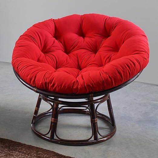 "International Caravan  42/"" Rattan Papasan ChairW//Solid Twill Cushion Bery Berry"