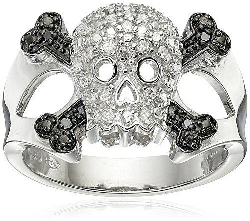 Sterling Silver Diamond Skull Ring