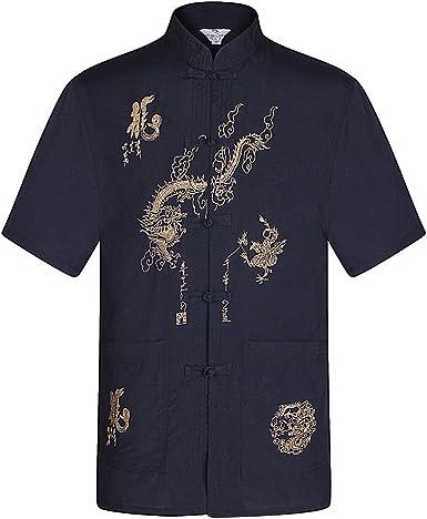 BOZEVON Traje y pantalón Tang de Manga Corta para Hombres Artes Marciales Uniforme de Kung Fu: Amazon.es: Ropa y accesorios