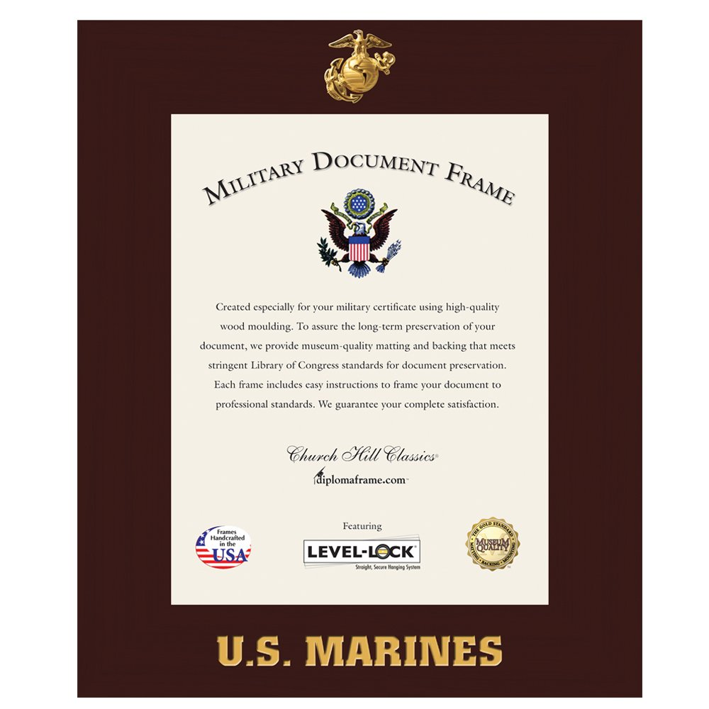 Church Hill Classics US Marine Corps Certificate Frame/Photo Frame - Wall Hanging, Cherry, Vertical Orientation - Official Marine Corps Logo and Word Mark (Certificate/Photo Size 8.5''x11'')