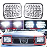 7x6 5x7 LED Headlights For Nissan Pickup Truck 240SX 200SX 300ZX Sentra Pulsar NX H6054 6054 High and Low Sealed Beam Square Rectangle Headlamp Replacement Bulb H4 Plug and Play