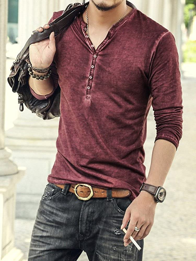 Beotyshow Mens Short Sleeve Henley Shirt Casual Slim Fit V Neck T-Shirts Button Closure Lightweight Tops