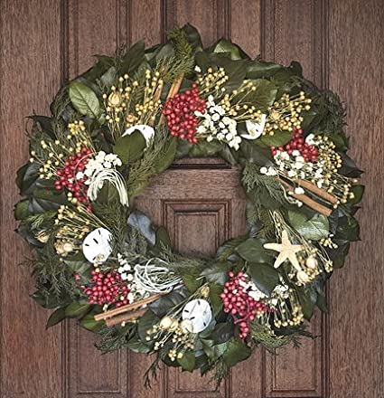 Nautical Christmas Wreath.Amazon Com Nautical Luxuries Coastal Wreath 22 Winter
