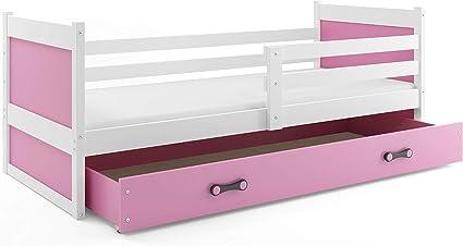 Interbeds Cama Individual Rico para colchón 190X90, SOMIER Y CAJÓN Gratis!colchón de Espuma Gratis! Color Blanco (Rosa)