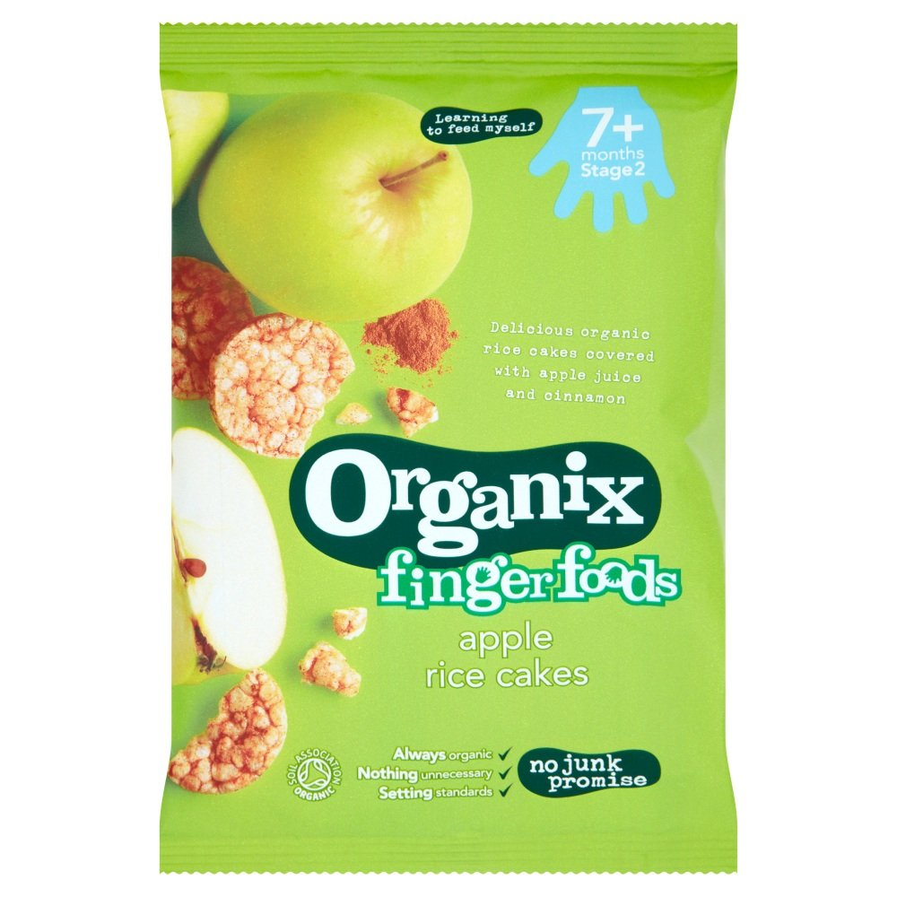 Organix Stage 2 From 7 Months Finger Foods Organic Apple Rice Cakes, 50g Live in Morrisons