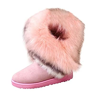 Landove Bottes de Neige Femmes Bottines Fourrées Fille Chaussures Chaudes  Hiver Cheville Plates Boots de Snow 58e8009c8ec0
