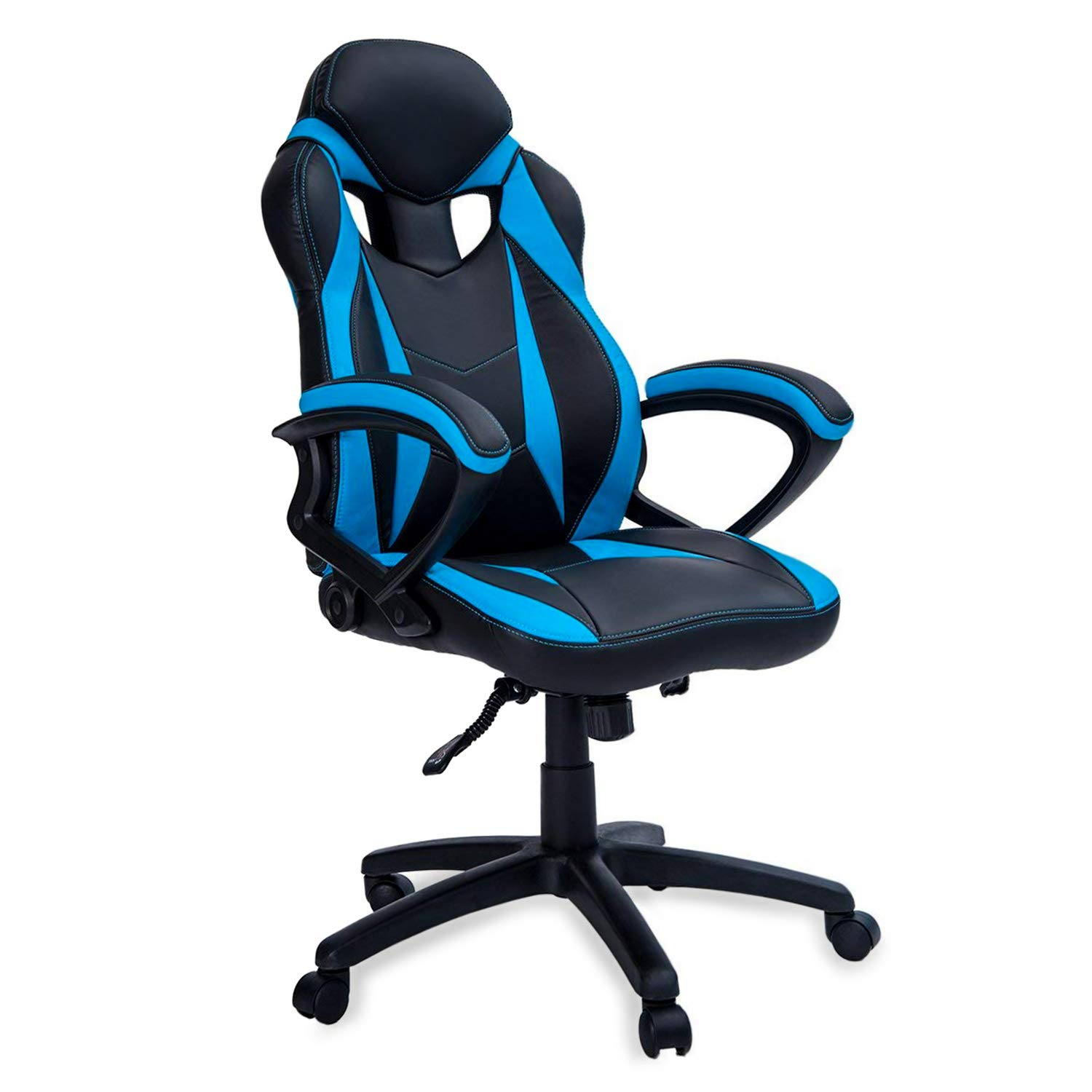 MIERES Gaming Racing Office High Back Computer Desk PU Leather Executive and Ergonomic Adjustable Swivel Chair Blue