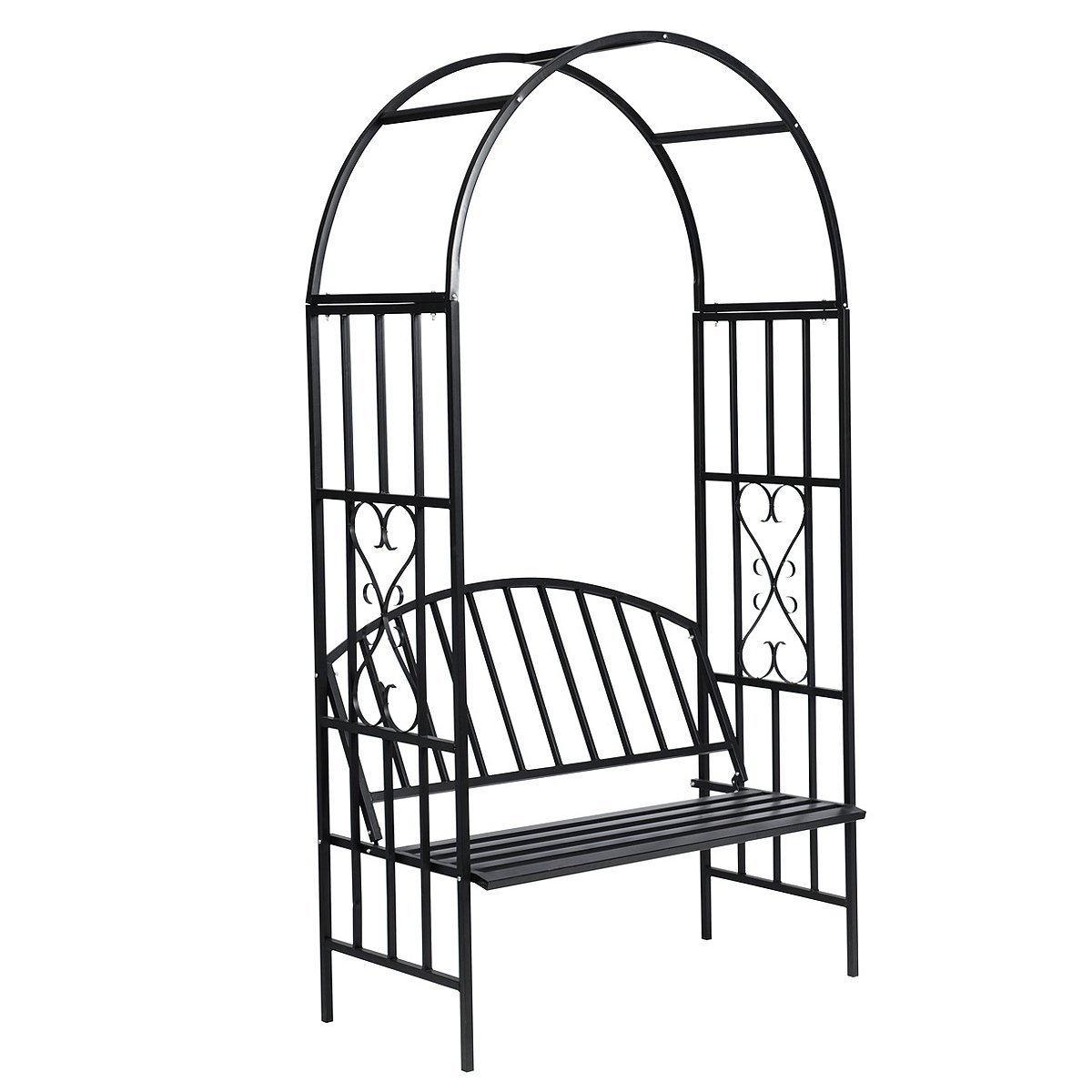 vidaXL Arch Bench Rose Garden Steel Trellis Arbor Decorative 14546