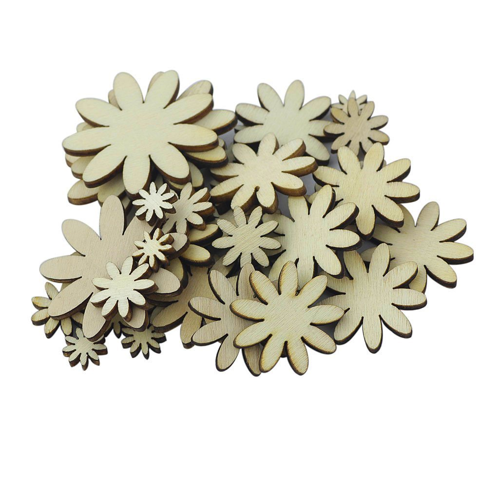 Yevison Pack of 50 Mixed Size Wooden Flower Shape Embellishments for DIY Decoration Craft Durable and Useful