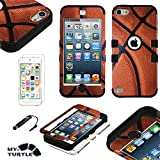 MyTurtle Shockproof Hybrid 3-Layer Hard Silicone Shell Cover with Stylus Pen and Screen Protector for iPod Touch 5th 6th Generation, Basketball