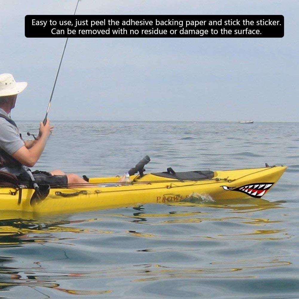 Fishlor Kayak Etiqueta 2 Unids Impermeable DIY Divertido Dientes De Tibur/óN Boca Etiqueta Calcoman/íA Coche Kayak Barco Cami/óN Decoraci/óN