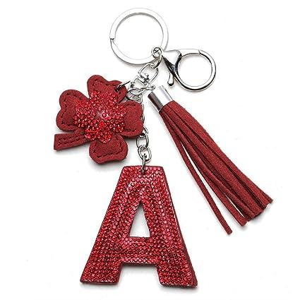 Amazon.com: DHmart Cute Letter A I P Keychain Glitter ...