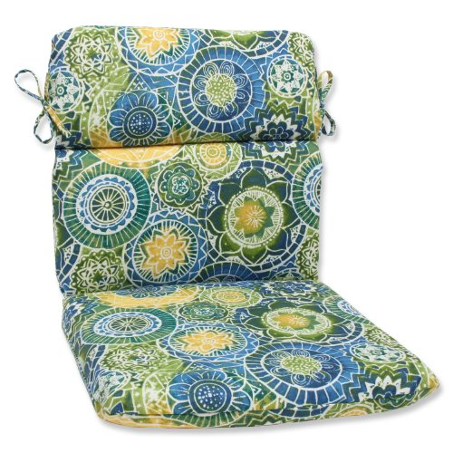 (Pillow Perfect Outdoor Omnia Lagoon Rounded Corners Chair Cushion)