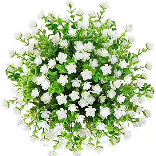 CQURE Artificial Flowers, Fake Flowers Artificial Greenery UV Resistant Outdoor Plants Eucalyptus Faux Plastic Shrubs Outside for Home Garden Porch Party Wedding Decoration 5 Bunches (White)