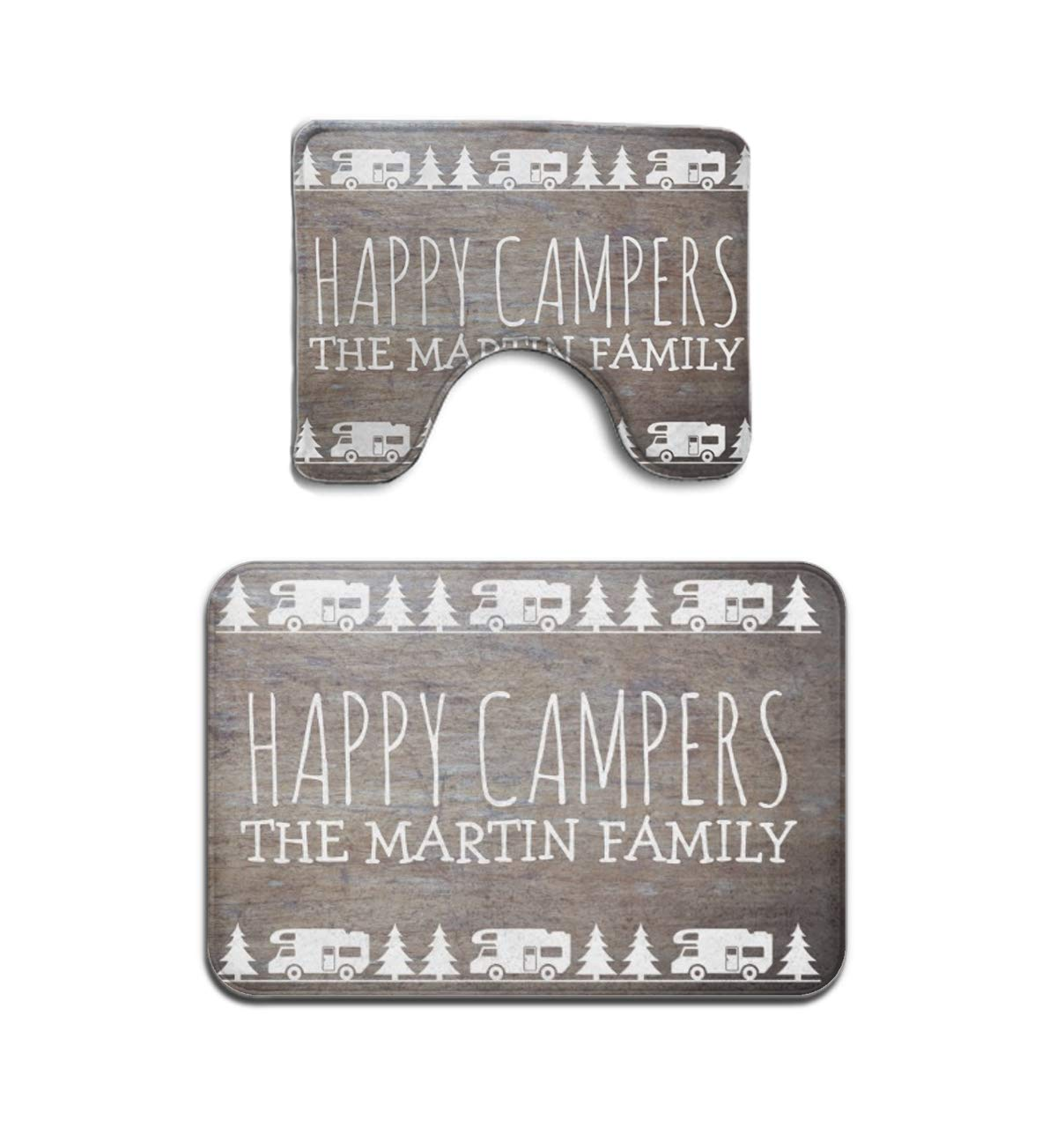 Beach Surfer Rustic Wood Personalized Camping Happy Campers 2 Piece Bath Mat Anti-mite Bathroom Rugs Toilet Mat Set Bathroom Accessories