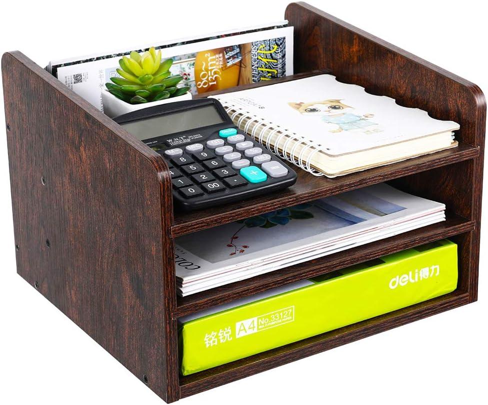 PAG Wood Desktop File Organizer Mail Sorter Magazine Rack Paper Holder Telephone Stand with Adjustable Drawer, Brown