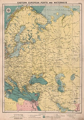 eastern europe sea chart ports lighthouses mail route black sea baltic c1914 old map