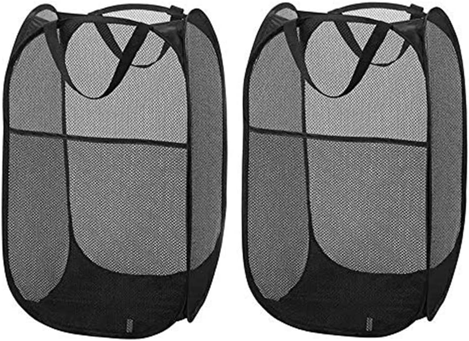 Nbeebro Pop-up Mesh Laundry Hamper Basket Clothes Storage Home Organizer with Handle, Durable &Collapsible (2pcs Black)